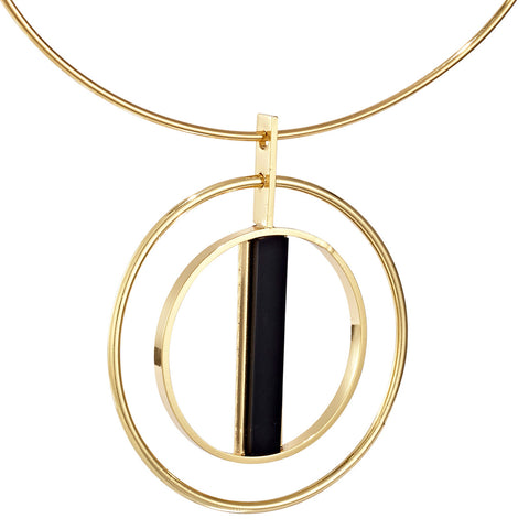 Lennox Collar by Jenny Bird in Gold with Black Resin Stone