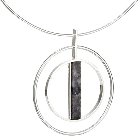 Lennox Collar by Jenny Bird in Silver with Labradorite Stone