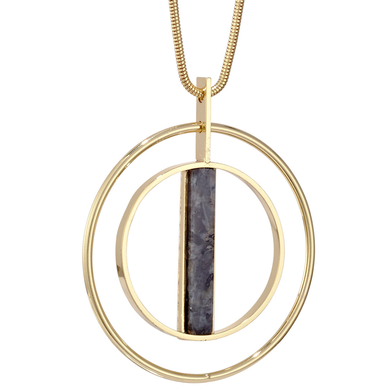 Lennox Pendant by Jenny Bird in Gold with Labradorite Stone