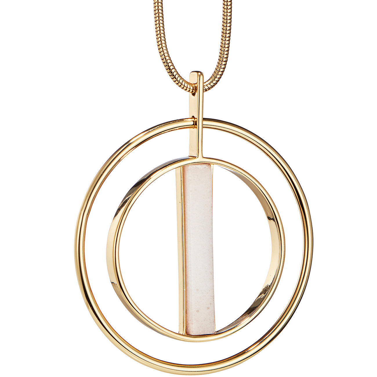 Lennox Pendant by Jenny Bird in Gold with Milky Jade Stone