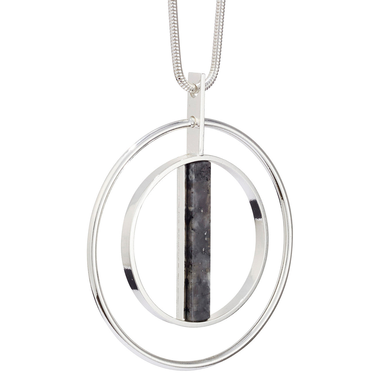 Lennox Pendant by Jenny Bird in Silver with Labradorite Stone