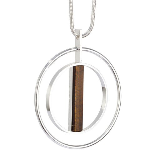 Lennox Pendant by Jenny Bird in Silver with Tiger's Eye Stone