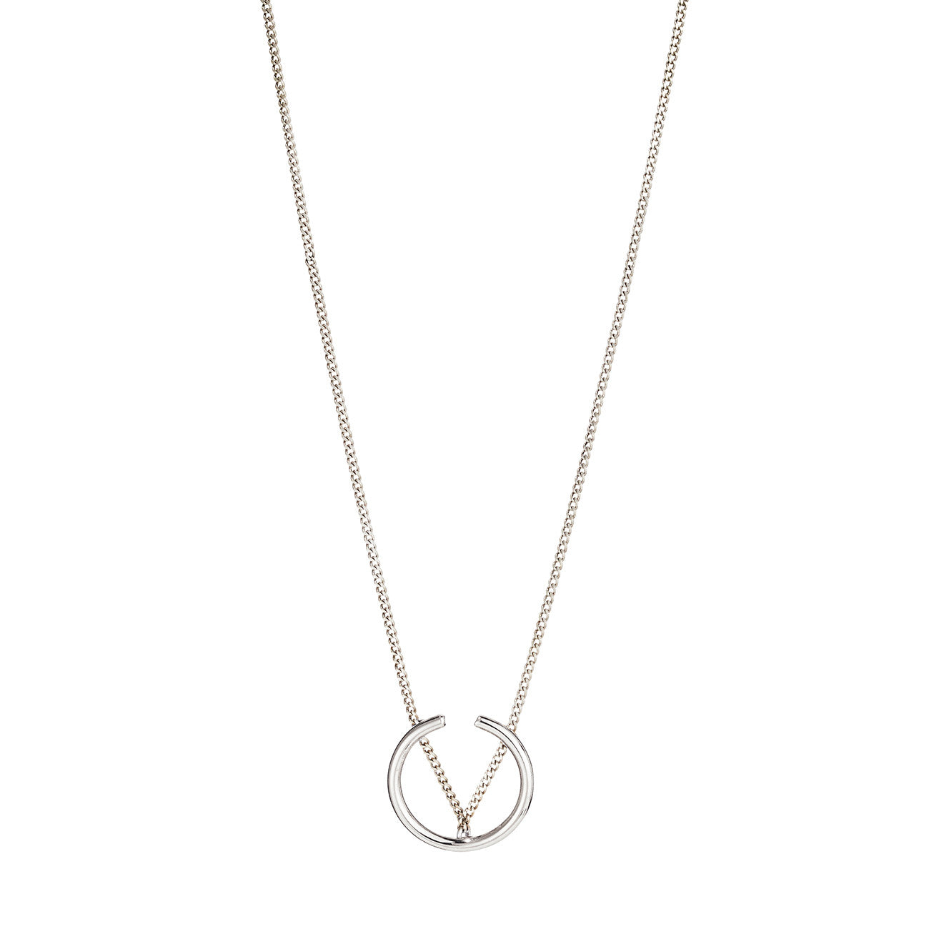 Arc Pendant Necklace By Jenny Bird in High Polish Silver