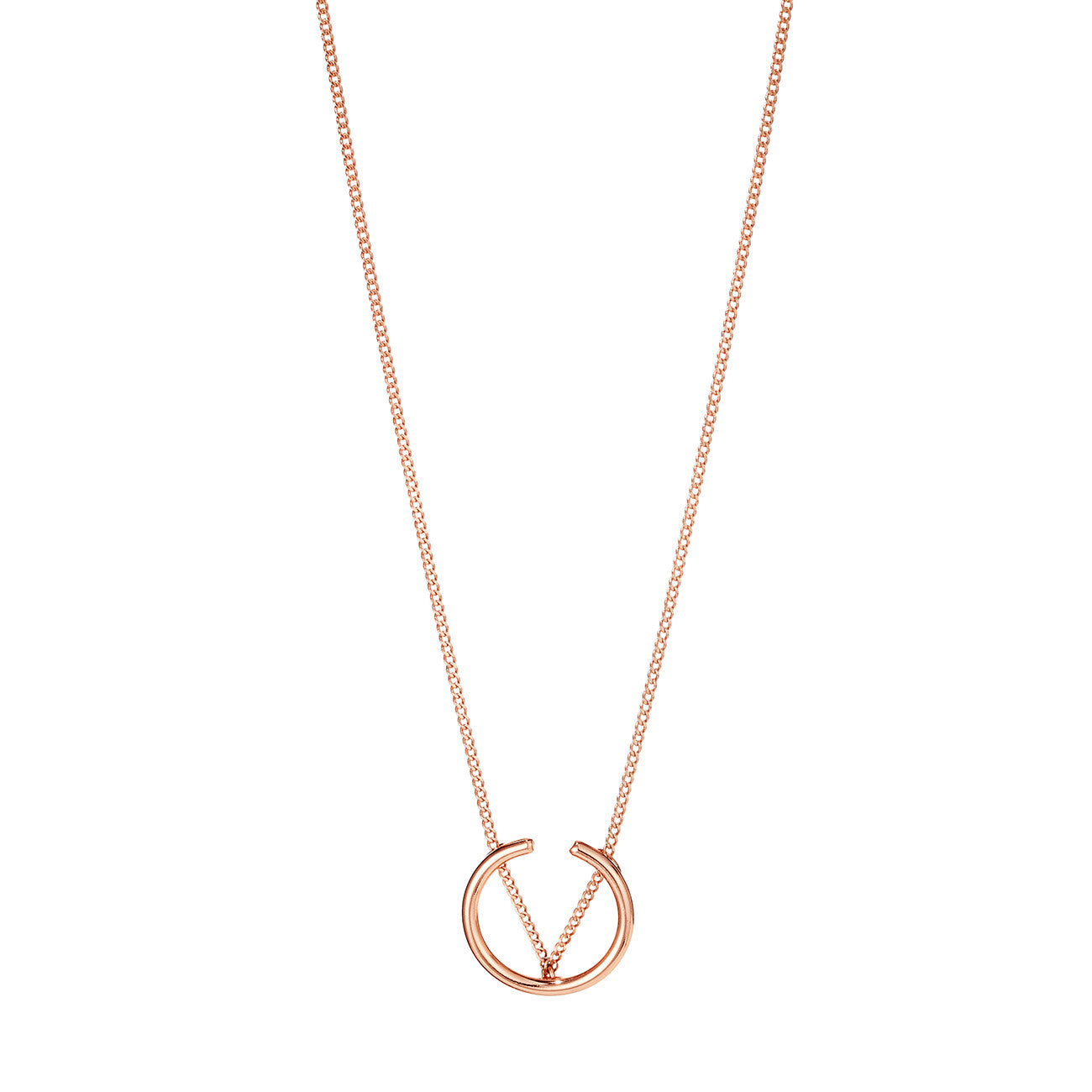 Arc Pendant Necklace By Jenny Bird in Rose Gold