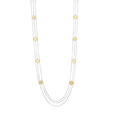 Long gold and silver square Jasmine Necklace with chains by Jenny Bird