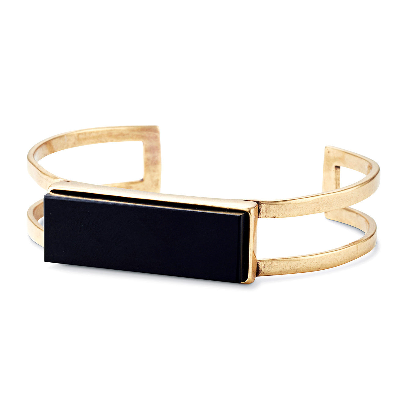 Lizzie Cuff by Jenny Bird in Gold Ox with Black Resin Stone