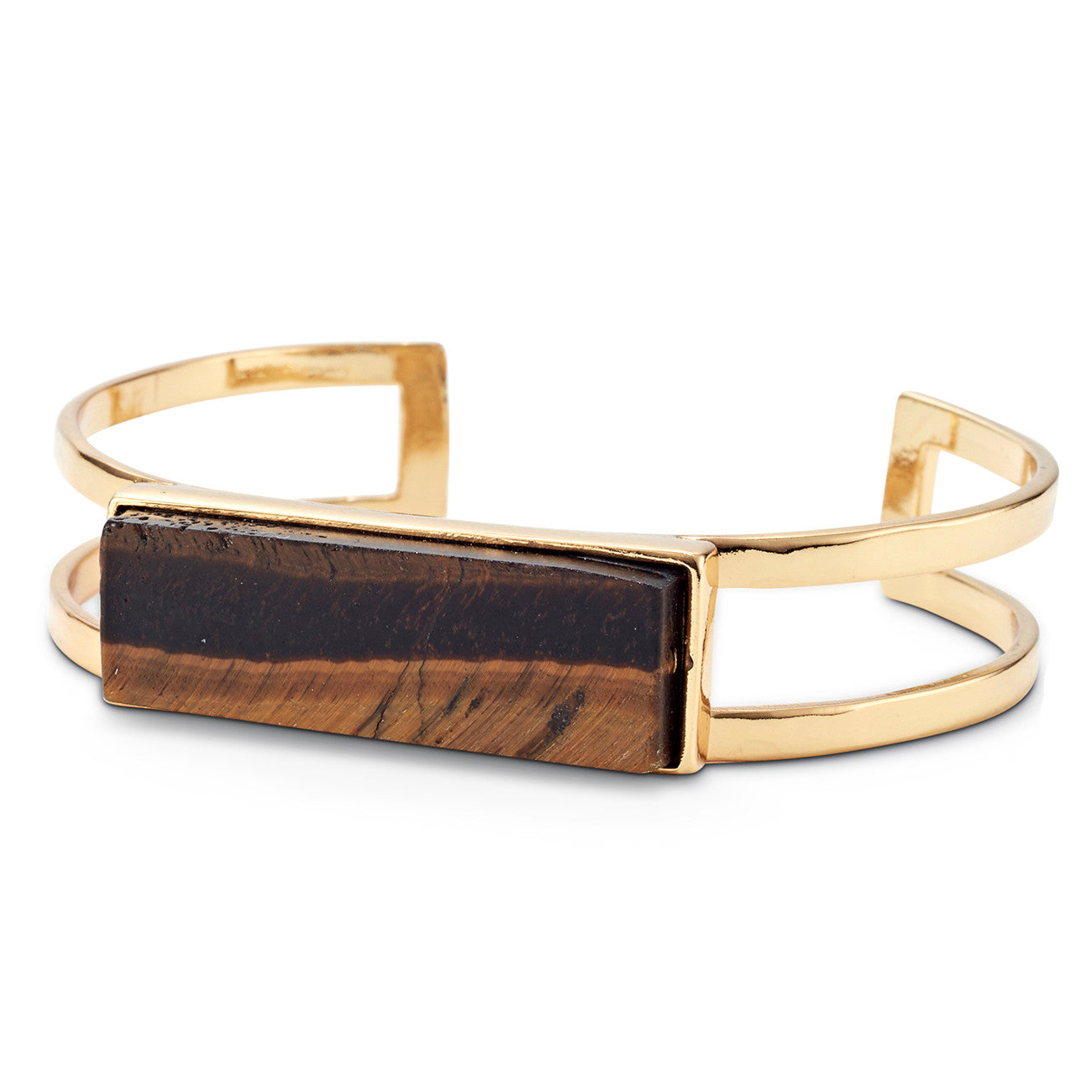 Lizzie Cuff by Jenny Bird in Gold with Tiger's Eye Stone