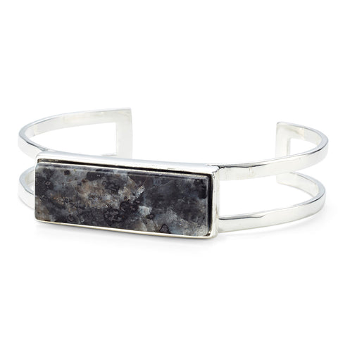 Lizzie Cuff by Jenny Bird in Silver with Labradorite Stone