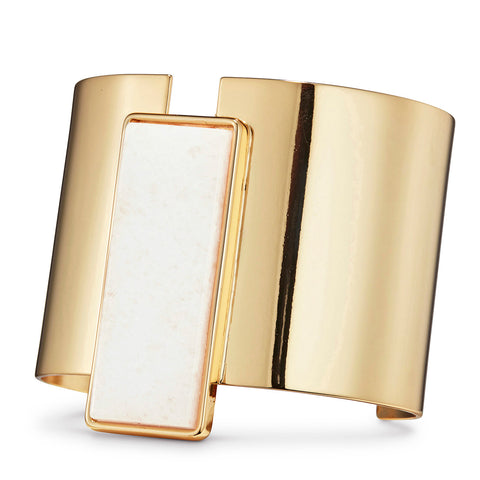 Charlie Cuff by Jenny Bird in Gold with Milky Jade Stone