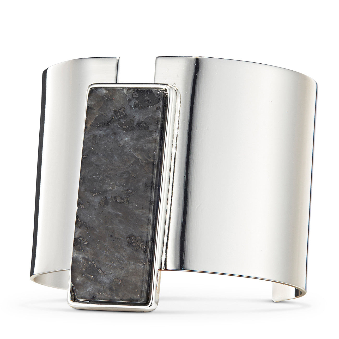Charlie Cuff by Jenny Bird in Silver with Labradorite Stone