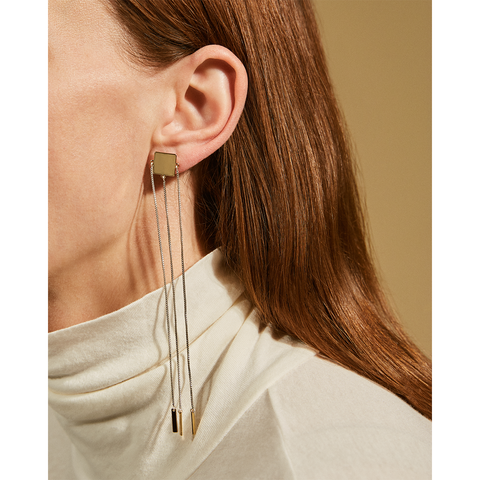Gold and silver long Jasmine Dusters chain earrings by Jenny Bird