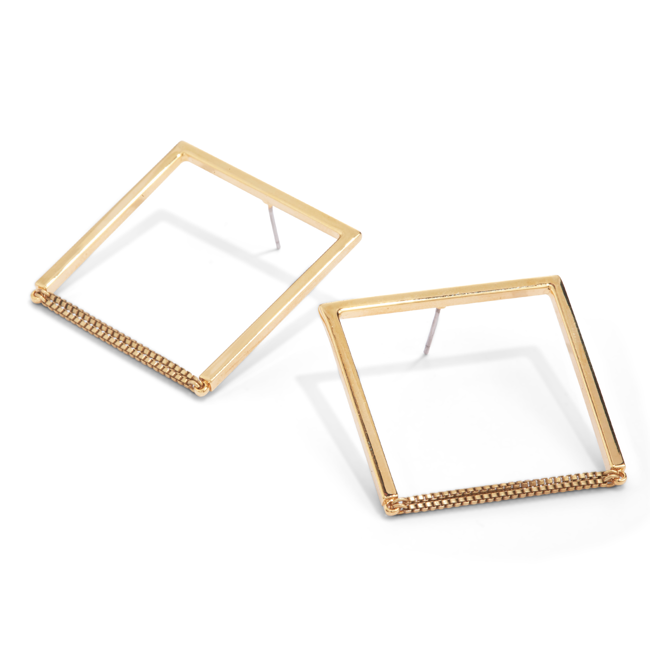 Gold square shaped Nora hoop Earrings by Jenny Bird