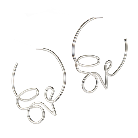 Love Hoops Earrings by Jenny Bird in Silver