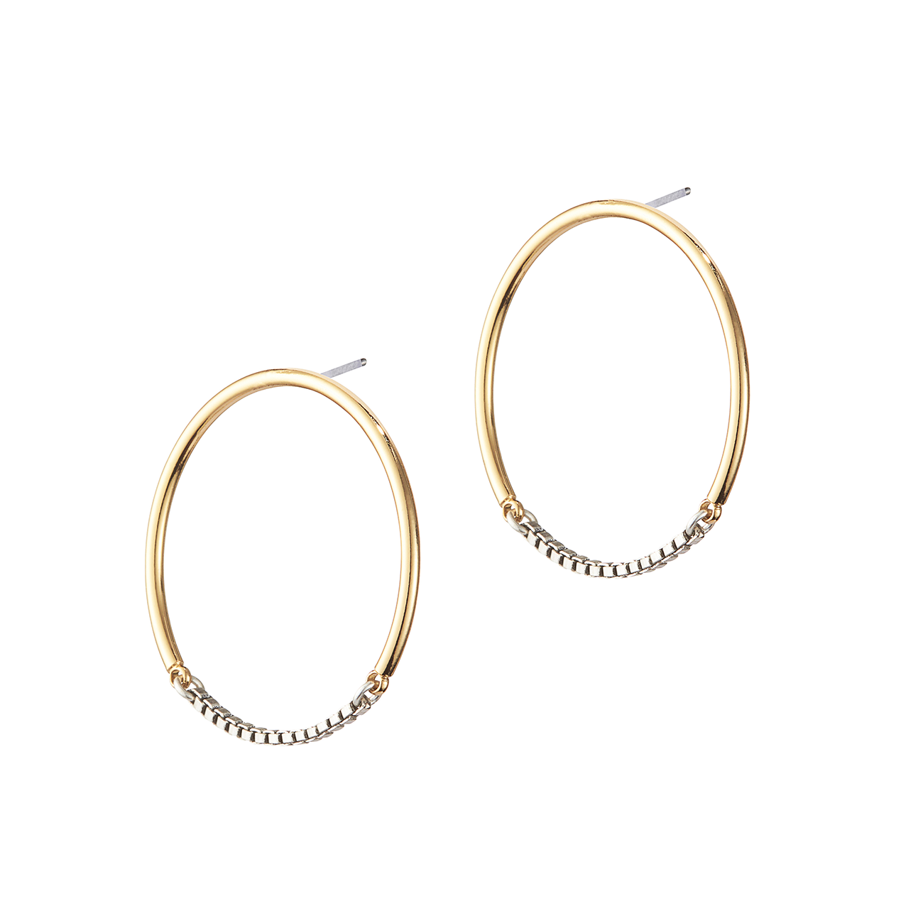 Gold and silver small chain Sadie Hoops by Jenny Bird