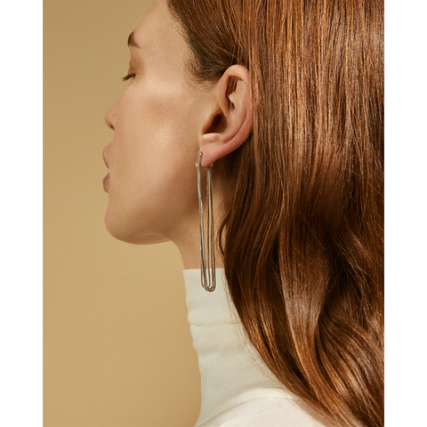 Silver Chloe Drapes long chain earrings by Jenny Bird