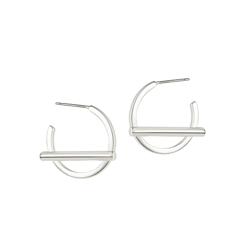 Small silver Trust Hoops earrings by Jenny Bird