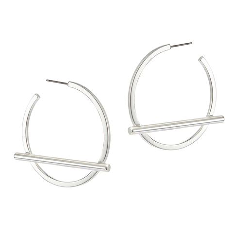 Medium silver Trust Hoops earrings by Jenny Bird