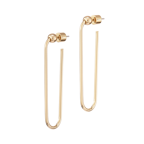 Long rectangle Icon Hoops earrings - Long in Gold by JENNY BIRD
