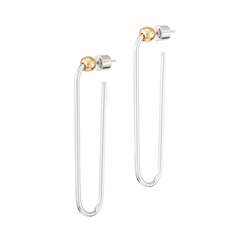 Long rectangle Icon Hoops earrings - Long in Gold and Silver by JENNY BIRD