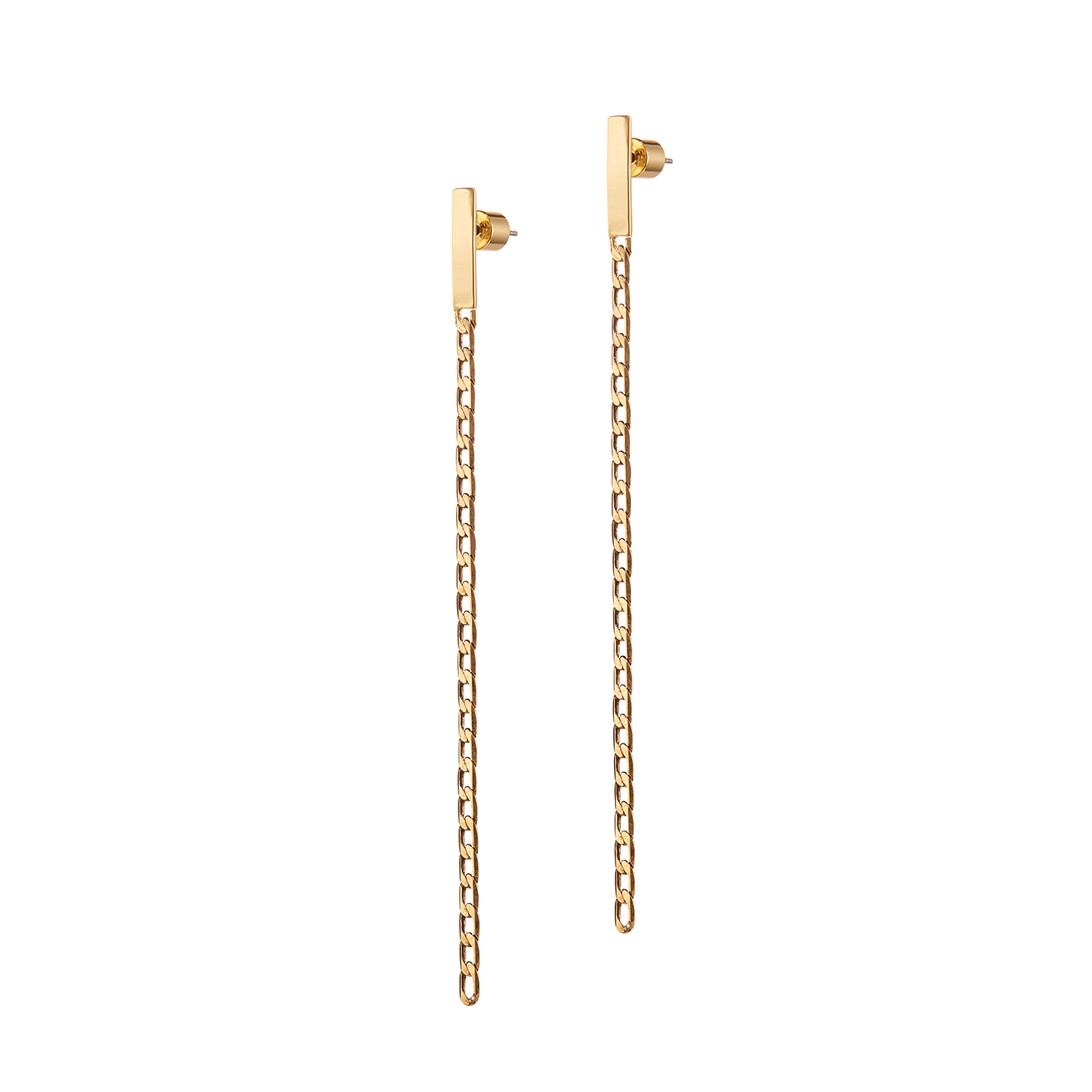 Gold long, narrow chain Beau Drops earrings by JENNY BIRD