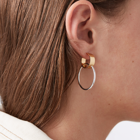 Gold and Silver double Imogen Hoops - Medium earrings by JENNY BIRD