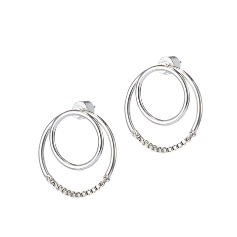 Silver circular Sadie earrings Jackets by Jenny Bird