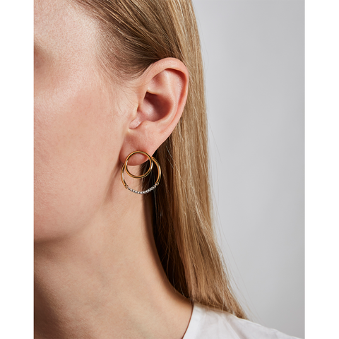 Gold and silver circular Sadie earrings Jackets by Jenny Bird