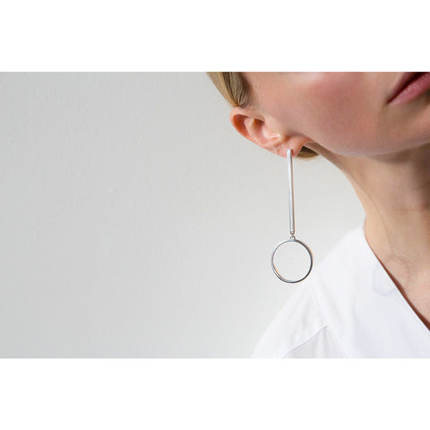 Jenny Bird Edie Hoop Earrings Medium in High Polish Silver