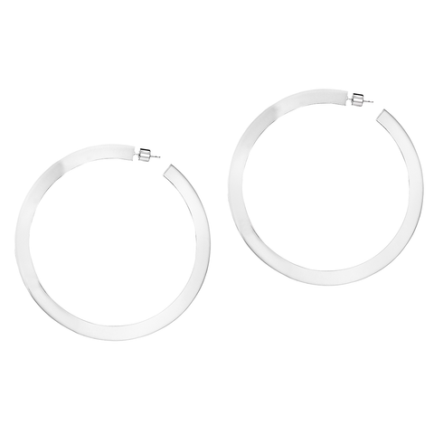 Silver flat Quinn Hoops - Large earrings by JENNY BIRD