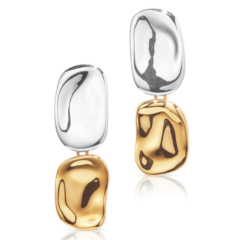 Large natural shaped Thea Earrings in Gold and Silver by JENNY BIRD