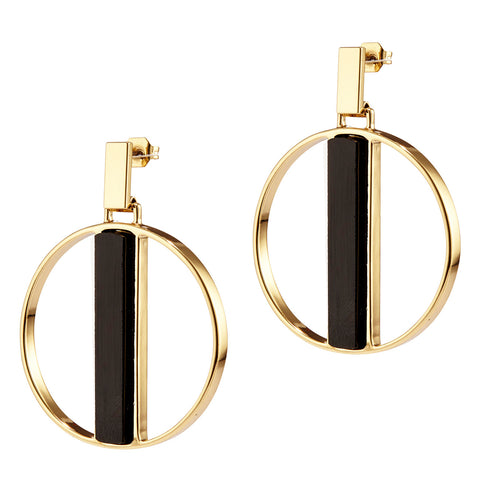 Pollux Hoops by Jenny Bird in Gold with Black Resin Stone