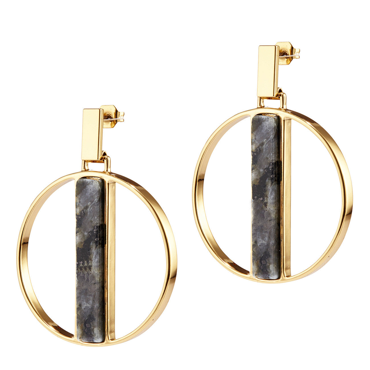 Pollux Hoops by Jenny Bird in Gold with Labradorite Stone