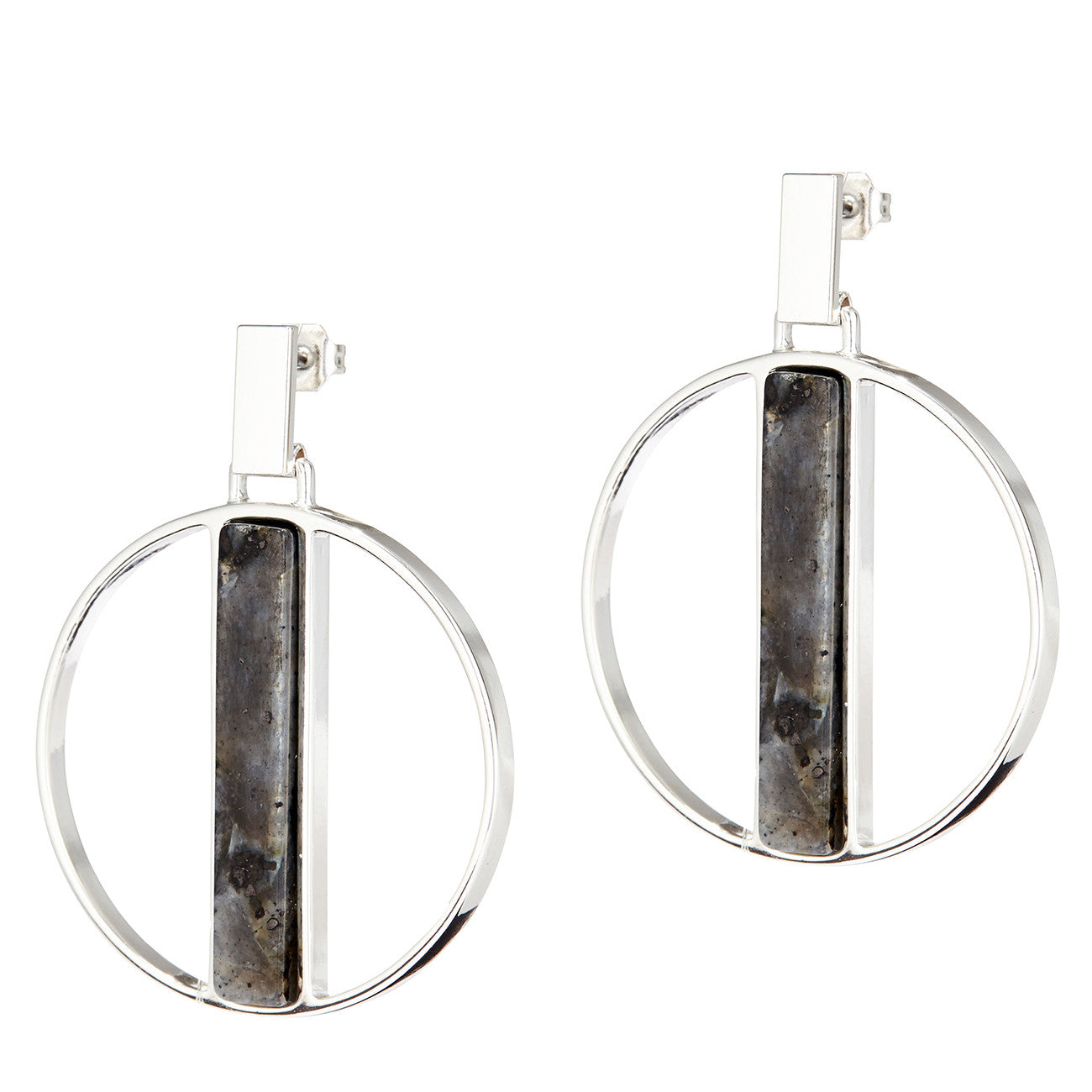 Pollux Hoops by Jenny Bird in Silver with Labradorite Stone
