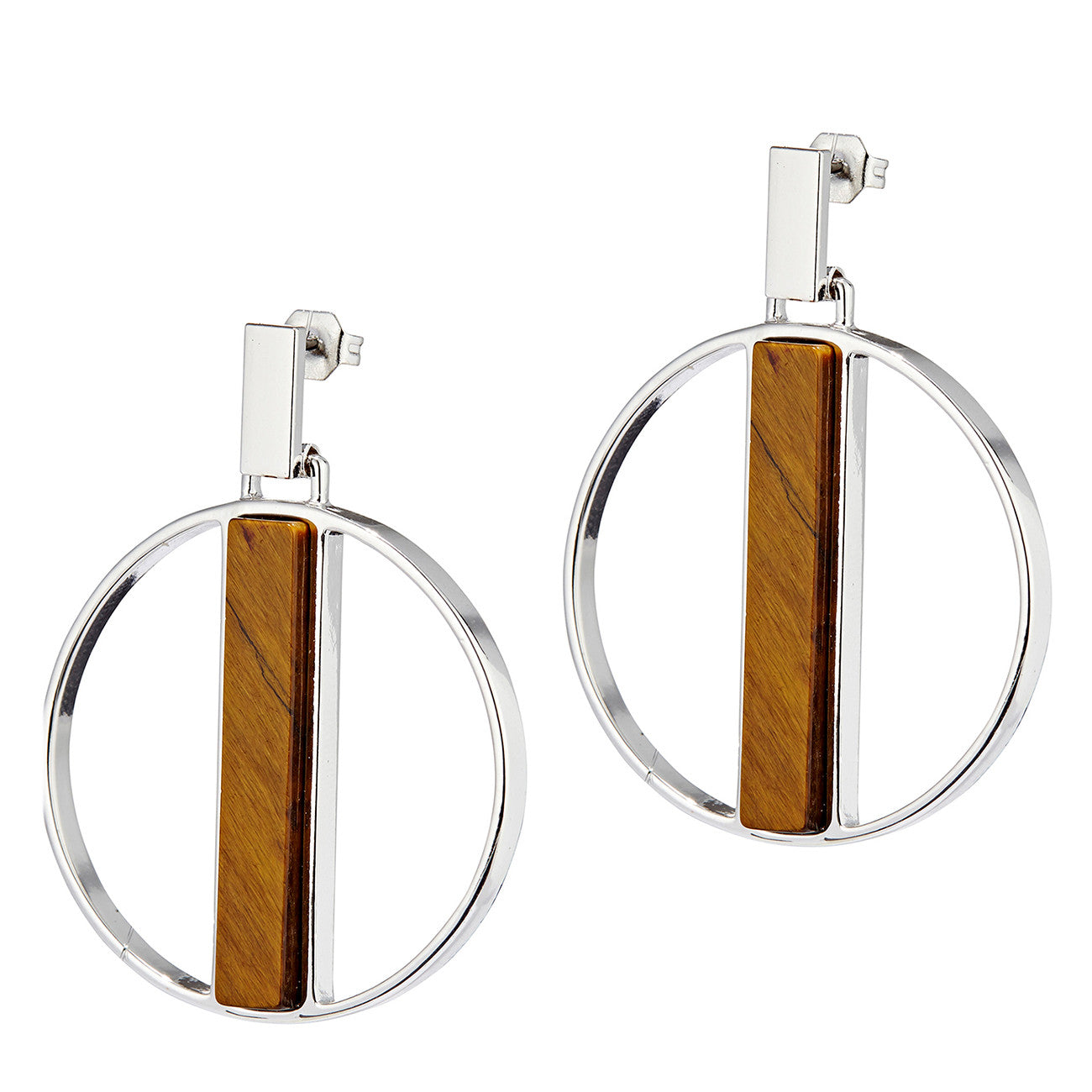 Pollux Hoops by Jenny Bird in Silver with Tiger's Eye Stone