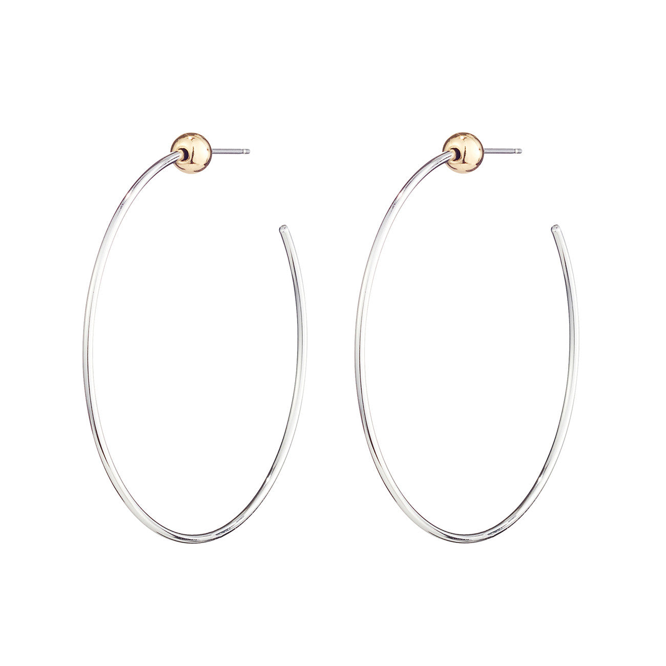 Small Icon Hoops by Jenny Bird in Rhodium