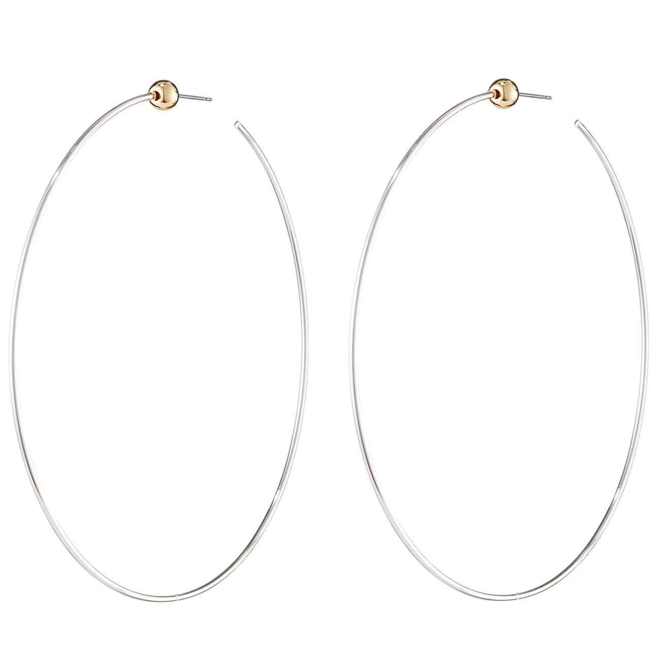 Large Icon Hoops by Jenny Bird in Rhodium