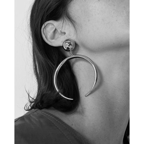 The Factory Earrings by Jenny Bird in Rhodium