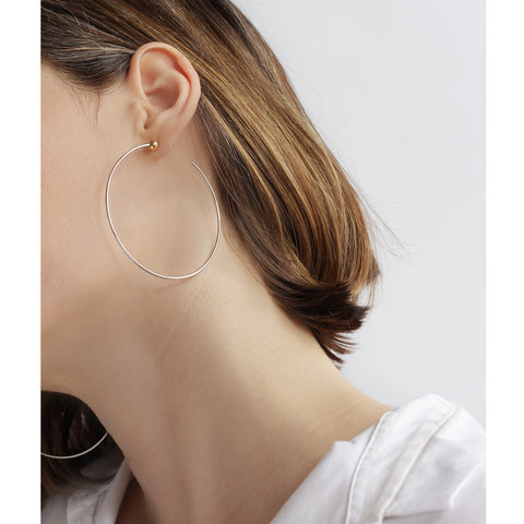 Medium Icon Hoops by Jenny Bird in Rhodium