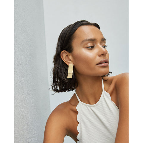 Short Beach House Earrings by Jenny Bird in Gold