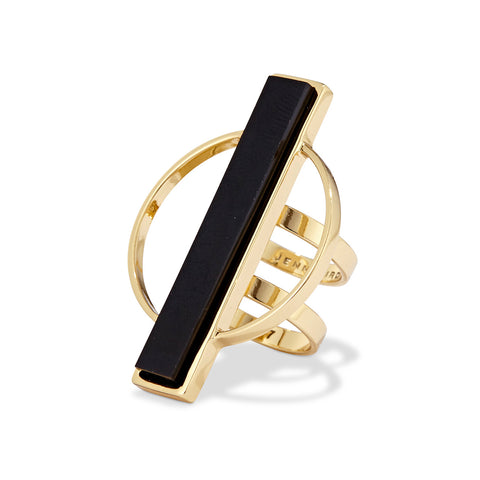 Jenny Bird Pollux Ring in Gold with Black Resin Stone