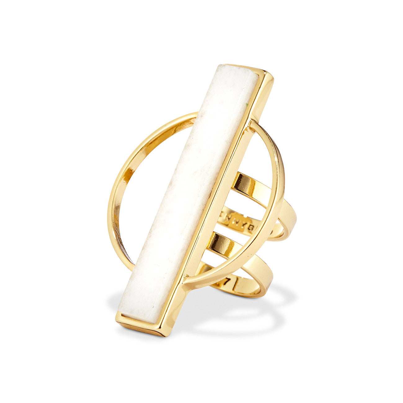Jenny Bird Pollux Ring in High Polish Gold with Milky Jade Stone