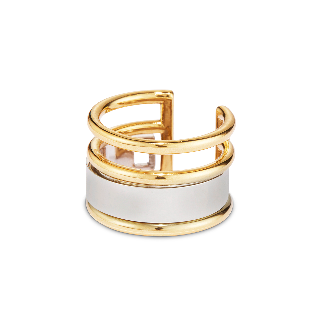 Gold and Silver multi-way stackable Remi Ring by JENNY BIRD