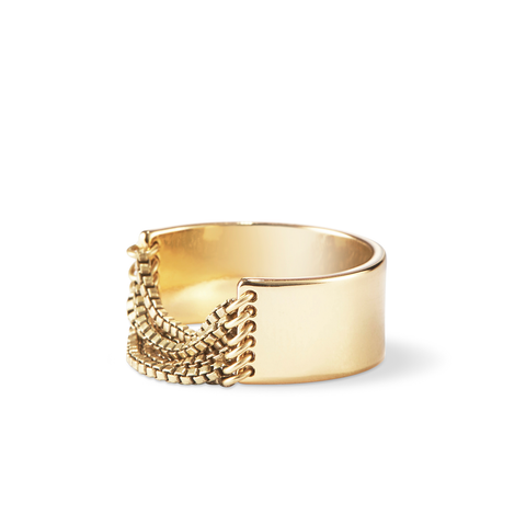 Gold small Chloe chain Ring by Jenny Bird