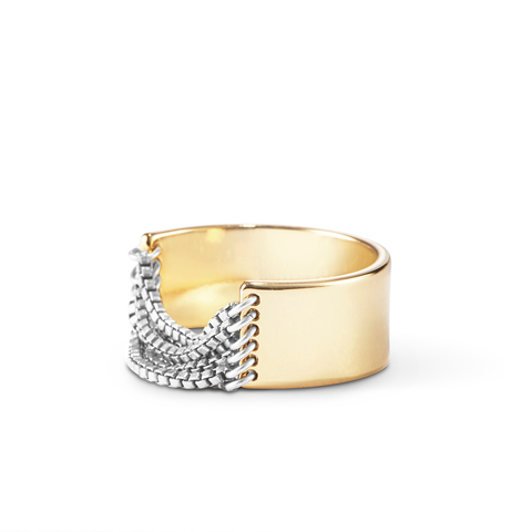 Gold and Silver small Chloe chain Ring by Jenny Bird