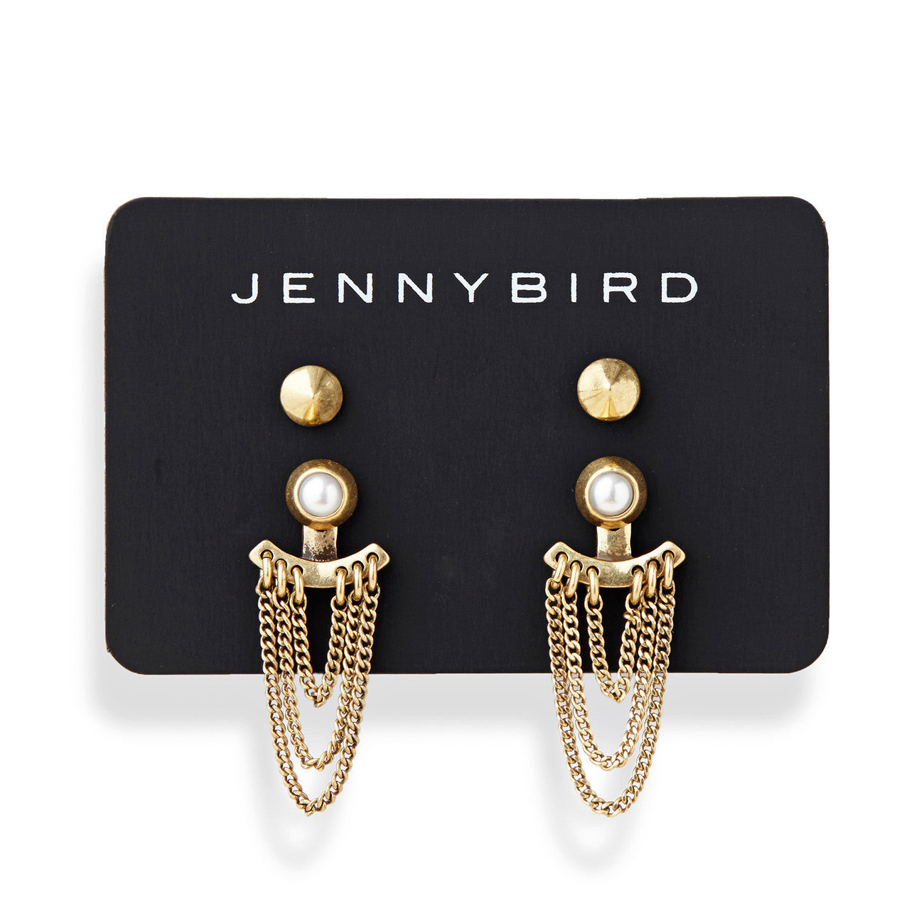 Lezark Ear Jackets in Gold by Jenny Bird