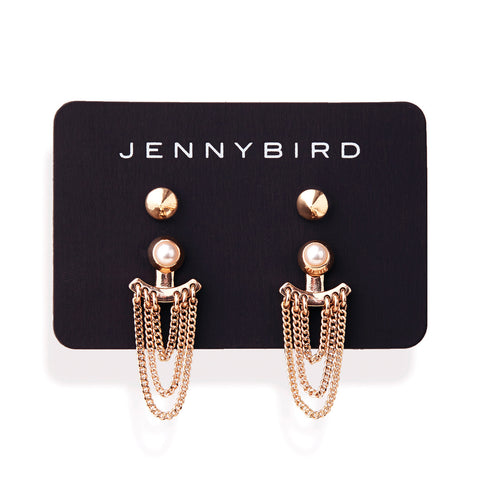 Lezark Ear Jackets in Rose Gold by Jenny Bird