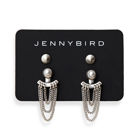 Lezark Ear Jackets in Silver by Jenny Bird