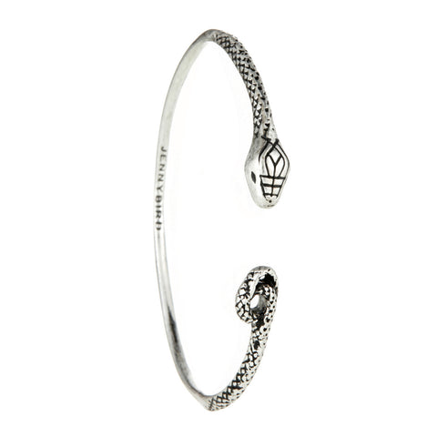 Kundali Queen Serpent Bangle in Silver by Jenny Bird