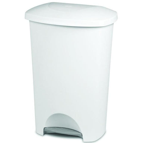 Sterilite Step-On Wastebasket, White, 11 Gallon - Wholesale Home Improvement Products