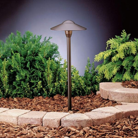 "Kichler - 8"" Dome Stem 12V Path Light Textured Architectural Bronze - Wholesale Home Improvement Products"